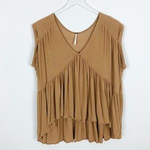 Free People Tiered Oversized Boho V-Neck Blouse